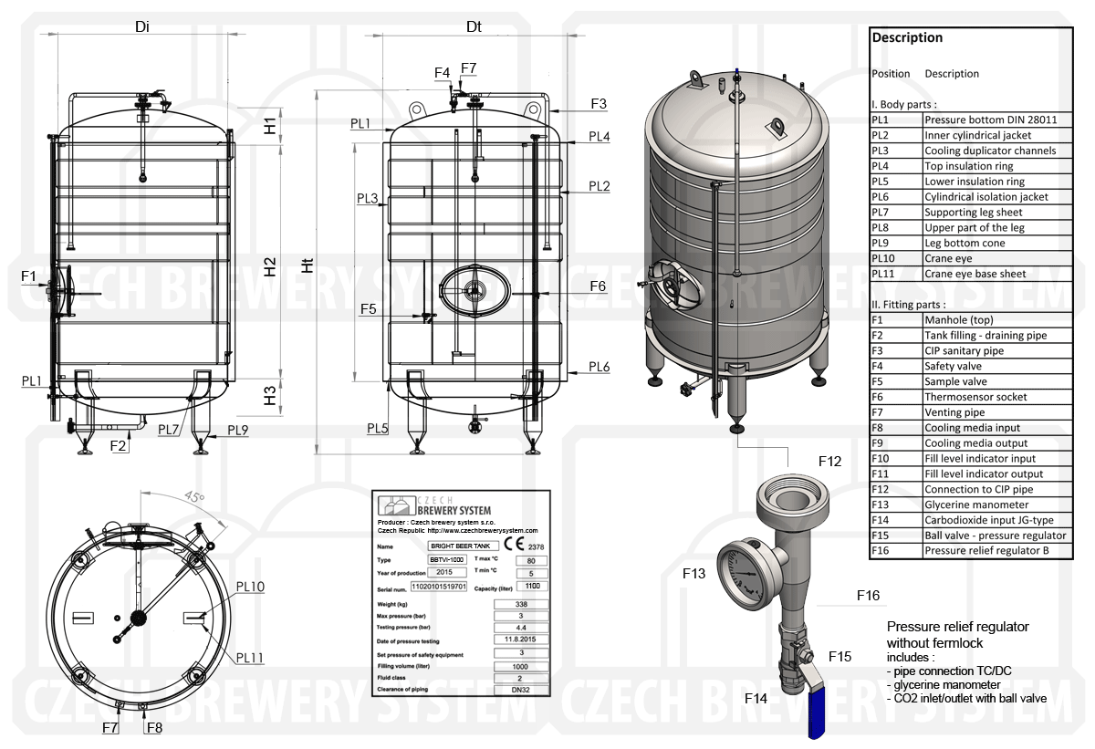Description of the cylindrical beer pressure tank, vertical, insulated