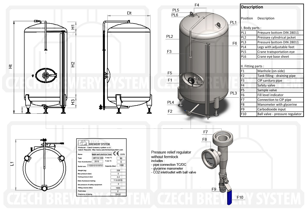 Description of the cylindrical beer pressure tank, vertical, non-insulated