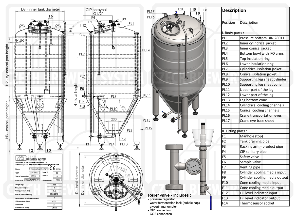 Drawings of the cone beer fermentor - cylindrically-conical fermentation tank