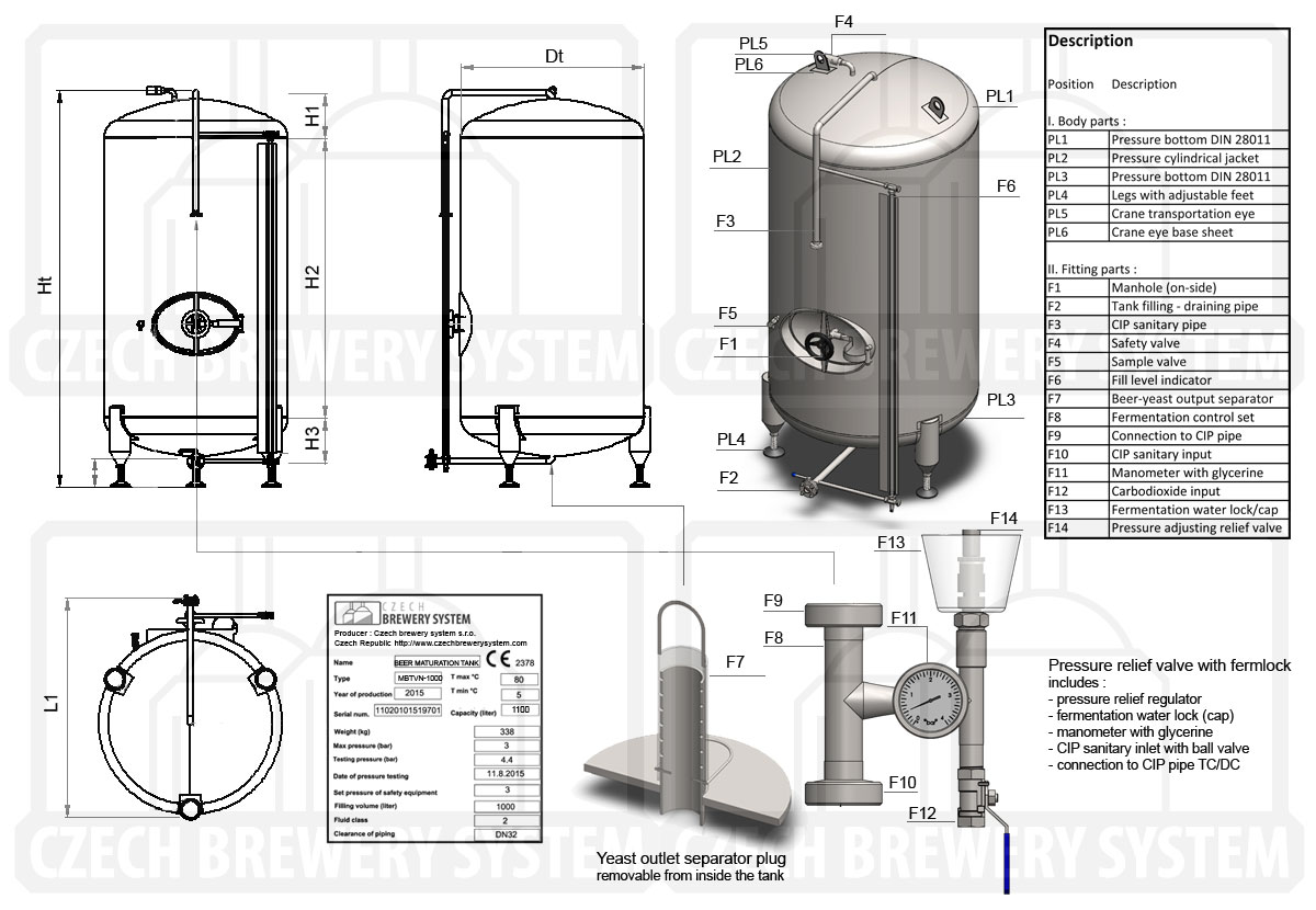 Mlt Cylindrical Beer Maturation Tanks Pressure Vessels