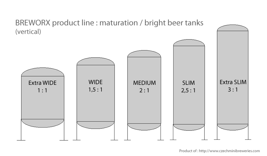 vertical beer storage tanks - variatons