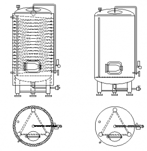 Vertical bright beer tanks